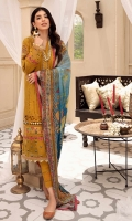 Front: Embroidered schiffli lawn center panel and side panels Back: Dyed lawn Sleeves: Embroidered schiffli lawn Pants: Dyed cambric Dupatta: Digital printed chiffon Embroideries: 1) Neckline Patti and motif 2) Ghera Patti 3) Sleeves and ghera border (1) 4) Sleeves and ghera border (2) 5) Sleeves Motifs(2) Border: Digital printed border