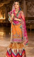 Front: Embroidered organza Back: Embroidered organza Sleeves: Embroidered organza Pants: Dyed jamawar gharara Dupatta: Embroidered net Embroideries: 1) Silk ghera border 2) Patches for sleeve(2) 3) Border for gharara joint 4) Silk printed border for gharara