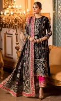 Front: Hand embelished embroidered velvet center panel Embroidered velvet side panels 1(2) Embroidered velvet side panels 2(2) Back: Embroidered velvet Sleeves: Embroidered velvet Pants: Dyed raw silk Dupatta: Screen printed silk Embroideries: 1) Velvet ghera border 2) Patches for sleeve(2) 3) Silk border for front and sleeves 4) Dupatta pallu borders 5) Silk border for dupatta 6)Border for pants