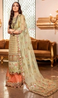 Front: Embroidered pani organza with velvet applique Back: Dyed organza Sleeves:Embroidered organza Pants: Dyed jamawar Dupatta: Embroidered net Embroideries: 1) Neckline on velvet 2) Ghera border 3) Ghera border on velvet 4) Sleeve border on velvet 5) Pani border for pants 6) velvet patches for front(5)