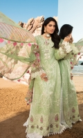 Front: Embroidered applique lawn center panel and side panels Back: Dyed lawn Sleeves: Dyed lawn Pants: Printed cambric Dupatta: Digital Printed chiffon Embroideries: 1) Border for front 2) Sleeves patches (4) 3) Embroidered buttons(3)