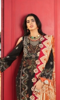 Front: Embroidered schiffli lawn center panel and side panels Back: Dyed lawn Sleeves: Embroidered schiffli lawn Pants: Dyed cambric Dupatta: Printed silk Embroideries: 1) Pani silk border for front