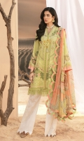 Front: Embroidered schiffli lawn Back: Digital printed lawn Sleeves: Embroidered schiffli lawn Pants: Printed cambric Dupatta: Digital printed chiffon Embroideries: 1) Border for sleeves