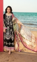 Front: Embroidered lawn Back: Dyed lawn Sleeves: Dyed lawn Pants: Printed cambric Dupatta:Digital printed silk Embroideries: 1) Front border 2) Patches for sleeves 3) Patti for sleeves
