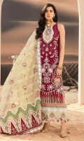 Front: Embroidered lawn Back: Dyed lawn Sleeves: Embroidered lawn Pants: Dyed cambric Dupatta: Embroidered woven chanderi Embroideries: 1) Silk neckline 2) Silk Patch for front (2) 3) Silk border for front 4) Silk border for sleeves 5) Silk border for dupatta pallu 6) Border for pallu