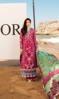 Front: Embroidered lawn center panel and woven jacquard lawn side panels Back: Dyed lawn Sleeves: Woven jacquard lawn Pants: Dyed cambric Dupatta: Digital printed silk Embroideries: 1) Border for front 2) Motifs for sleeves (2)