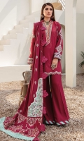 Front: Dyed jaqaurd Back: Dyed jaqaurd Sleeves: Dyed jaquard Pants: Dyed linen Dupatta: Embroiderd linen shawl Embroideries: 1) Neckline 2) Ghera border 3) Shawl border 4) Sleeves Border 5) Sleeves Patch 6) Shawl pallu borders