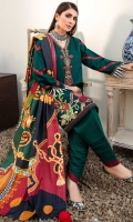 Front: Dyed woven Jaquard linen Back: Digital printed linen Sleeves: Dyed embroidered Jaquard Pants: Dyed linen Dupatta:Digital printed woolen shawl Embroideries: 1) Silk border patch 2) Silk neckline
