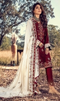 Front:Dyed embroidered linen Back: Dyed linen Sleeves: Dyed embroidered linen Pants: Dyed linen Dupatta: Embroidered jacquard linen shawl Embroideries: 1) Neckline 2) Front daman border 3) Shawl side patti 4) Extra side panel 5) Sleeves border