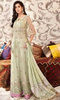 Front: Embroidered net Back: Dyed net Sleeves: Embroidered net Pants: Printed cambric Dupatta: Screen printed silk Embroideries: 1) Daman net border 2) Daman silk pani border 3) Neckline 4) Silk motifs for sleeves (2)