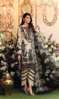 * FRONT EMBROIDERY                                                                                  (1.15m)  * FRONT EMBROIDERY BORDER                                                                 (30in)  * FRONT GALA TISSUE                                                                                   (01)  * CHALK LACE BORDER ON TISSUE                                                            (30in)  * SLEEVES                                                                                                            (.7m)  * SLEEVES MOTIF LEFT AND RIGHT                                                           (02)  * SLEEVES LACE                                                                                                 (39in)  * BACK EMBROIDERY                                                                                     (1.15m)  * DYED TROUSER                                                                                              (2.5m)  * TROUSER LACE                                                                                              (2y)  * EMBROIDERED NET DUPATTA CUTWORK ALREADY DONE          (2.5m)