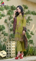 Lawn Karandi Embroidered Front  Embroidered Back & Sleeves  Printed Chiffon Dupatta  Dyed Trouser