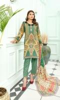 Digital Sequin Embroidered Karandi Front  Digital Printed Back & Slvees Karandi  Dyed Karandi Trouser  Digital Printed Bamber Dupatt