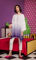 Front and back is screen printed on arabian lawn in purple colour stipes. The style of the shirt is loose, square cut sleeves.