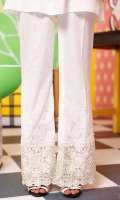 Boot-cut style lawn pants with embroidered lace with pearl embellishment and spray.