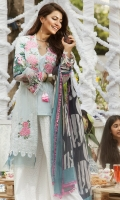 EMBROIDERED LAWN FRONT : 1.25 MTR PRINTED LAWN BACK : 1.25 MTR PRINTED LAWN SLEEVES : 0.65 MTR PRINTED CAMBRIC TROUSER : 2.5 MTR PRINTED CHIFFON DUPATTA : 2.5 MTR ACCESSORIES EMBROIDERED ORGANZA NECK PATCH : 2 PCS EMBROIDERED ORGANZA MOTIF : 2 PCS