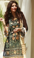 EMBROIDERED LAWN FRONT : 1.25 MTR DYED LAWN BACK : 1.25 MTR EMBROIDERED CHIFFON SLEEVES : 0.65 MTR PRINTED CAMBRIC TROUSER : 2.5 MTR BANARSI CRUSHED DUPATTA : 2.5 MTR ACCESSORIES EMBROIDERED ORGANZA BORDER : 1 MTR