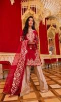 . Khaadi Silk Net Front 1.25 meters . Khaadi Silk Net Back 1.25 meters . Embroidered Khaadi Silk Net Sleeves 1.25 meters . Printed Viscose Silk Trouser 2.5 meters . Embroidered Patchwork Organza Dupatta 3 meters  ACCESORIES  . Embroidered Organza Neckline 1 . Embroidered Shirt Organza Neckline 0.75 meter . Viscose silk lining for shirt 2.5 meters