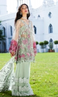 . Embroidered Net Front 1.25 meters . Embroidered Net Back 1.25 meters . Embroidered Net Sleeves 0.75 meter . Embroidered Net Trouser 2.5 meters . Foil Printed Net Dupatta 2.5 meters  ACCESORIES  . Embroidered Neck Patti 2.5 meters . Embroidered organza border for sleeves 1.25 meters . Viscose silk lining for shirt 2.5 yards . Viscose silk lining for Trouser 2.5 yards