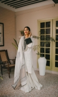 Egg shell schiffli base is embroidered on the neckline and sleeves with tilla thread. Comes with a cotton sharara pants and hand spun cotton net karandi with zari dupatta that is decorated with block print.