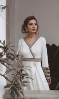 Long white cotton Peshwaz, with Gold Tilla Marori embroidery, placed on ribbons of black fabric. Paired with plain stright pants.