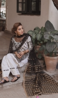 Lawn Shirt, with Machine emboidered Tilla and Resham Marori on front and sleeves. Cotton Shalwar with Tilla and Applique details.
