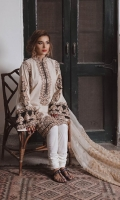 Kashmiri cut kurta with Machine embroidered antique Gold Tilla Marori on patches of black. Placed on eggshell jacquard lawn, paired with eggshell white cotton Churidar Pajama.