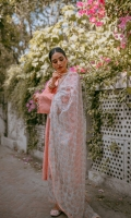 Shirt banarsi lawn with gold tilla motifs finished with pin tucked organza cuffs bordered with lace. Silk straight trousers. Zari organza dupatta with block print.  Shirt Length 44 Inches standard for all sizes.