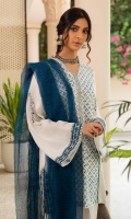 A classic combo of blue on white, nazaneen features a stunning hand block printed lawn Kameez paired with a cambric cotton tulip shalwar with embroidered trims. We have paired the look with hand woven cotton karandi dupatta.  3pc Lawn Afghani kurta with box sleeves.  Cambric Tulip shalwar with embroidery.  Handwoven cotton karandi dupata.