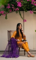 Navaa is a stunning combo of saffron orange and violet. The kameez features carefully stamped tribal block printed details. It is paired with a plain orange cambric trousers and cotton karandi dupatta in a violet shade.  3 pcs lose fit lawn kameez.  Fitted cambric trouser.  Handwoven cotton karandi dupatta.