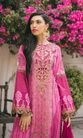 Block printed premium zari linen shirt with embroidered neckline, embroidered sleeve with gota and resham hangings.  Cambric Sharara with gotta accents.  Net dupatta with zari gotta spray and chevron pallus.