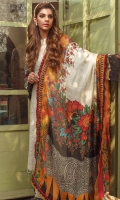 PRINTED SILK DUPATTA: 2.5MTR EMBROIDERED LAWN FRONT: 1 MTR PRINTED LAWN BACK: 1.25MTR PRINTED SLEEVES: 0.65MTR DYED CAMBRIC TROUSER: 2.5MTR Accessories EMBROIDERED NECKLINE : 1 EMBROIDERED TROUSER BORDER: 1 MTR