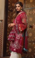 PRINTED SILK DUPATTA: 2.5MTR EMBROIDERED LAWN FRONT: 1 MTR PRINTED LAWN BACK: 1.25MTR P R I N T E D S L E E V E S: 0.6 5 M T R PRINTED CAMBRIC TROUSER: 2.5MTR Accessories EMBROIDERED FRONT BORDER: 1 MTR