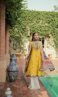 Printed Lawn Front                 01.25 meters  Printed Lawn Back                 01.25 meters  Printed Lawn Sleeves             0.65 meters  Cambric Trouser                     02.5 meters  Printed Silk Dupatta                02.5 meters  Accessories       Embroidered Neckline             01  Extra Printed Lawn Fabric       01 meter  Embroidered Border                03 meter