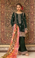 Velvet kurta style shirt with azzar cut pants. Gold printed multi coloured dupatta adds a pop of colour to the royal look.