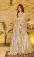 Organza material fully worked on jacket with embroidery, pearl and crystal embellishment. Tassels at the end of the jacket gives the outfit a complete look. Given with a tissue pleated blouse paired with a silver gota sprayed sharara.