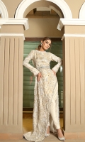 This long mesmarizing dress is a must for all seasons. Fully embellished front and back with tassel finishings. Has a Plain white pencil trouser to complete the look.