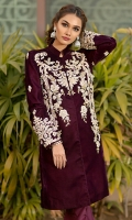 Velvet highneck jacket with embroidery and light embellishment on the motives. Its paired with plain silk bootcut.