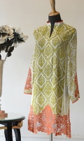 Green printing with Orange embroidery on sleeves and Daman.