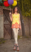 Lime green printing with orange embroidery.  Length:28   Shirt only.