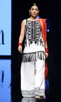 Lawn shirt with black embroidery on the neckline and tassel finishings. Has white cotton sharara pants and a red zari cotton net dupatta.