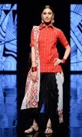 Red cotton net loose fit short shirt with black cotton tulip shalwar. This outfit is paired with a malmal printed dupata.