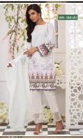 *Shirt : Printed Lawn With Embroidered Front.  *Dupatta : Chikan Kari  *Trouser : Embroidered Bunch/Belt