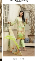 *Shirt : Digital Lawn With Embroidered Front.  *Dupatta : Chiffon.  *Trouser : Embroidered Bunch/Belt.