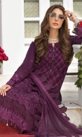 Embroidered chiffon front  Embroidered chiffon side panels Plain chiffon back Embroidered chiffon sleeves Embroidered chiffon attachment laces Embroidered chiffon dupatta Raw silk trouser Color : Purple  Thread & sequin Embroidery