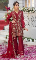 Embroidered chiffon front Embroidered chiffon back  Embroidered chiffon sleeves Embroidered chiffon attachment laces Embroidered chiffon dupatta Raw silk trouser  Color : Maroon  Zari & sequin Embroidery