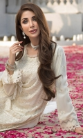 Embroidered chiffon front Embroidered chiffon side panels   Embroidered chiffon back Embroidered chiffon sleeves Embroidered chiffon attachment laces Embroidered chiffon dupatta Raw silk trouser  Color : Off White Zari, sequin & boring Embroidery