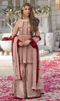 Embroidered chiffon body Embroidered chiffon front (Kaliyan) Embroidered chiffon side panels Plain chiffon back  Embroidered chiffon sleeves  Embroidered chiffon dupatta Raw silk trouser Color : Tea Pink Color Dori, Zari, Thread & Mukesh Work