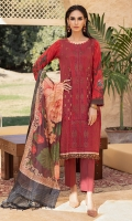 Shirt : Lawn Embroidered Front Lawn with Printed Back And Sleeves. Dupatta : Digital Printed Monar Dupatta Trouser : Dyed Cambric Trouser Blue color, Zari & sequins work on  Shirt Front embroidered.