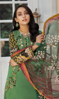 Shirt: Printed Embroidered Lawn Shirt Dupatta: Printed Chiffon Dupatta Trouser: Dyed Cambric Trouser  Sleeves embroidered & Cross stitch embroidered
